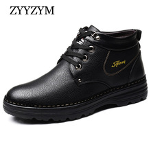 ZYYZYM Mens Boots EUR 38-47 Winter Lace Up Style Genuine Leather Snow Ankle Plush Keep Warm Male high Quality
