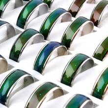 100 pcs 기분 반지 변경 색상 스테인레스 스틸 반지 믹스 크기 도매
