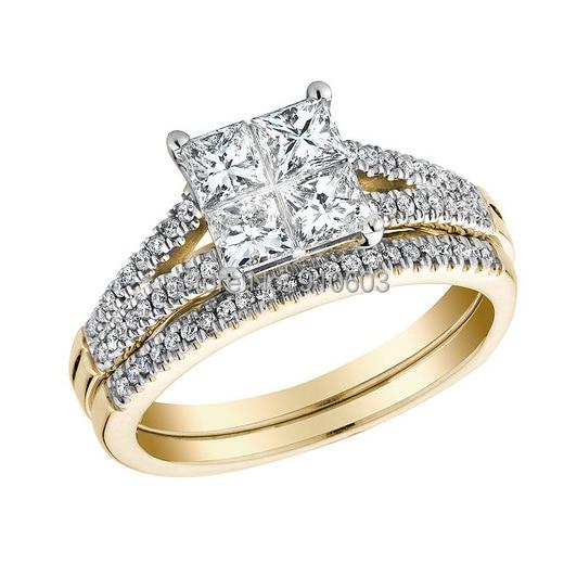 Fashion 9K Yellow Gold Wedding Band Set Simple Princess Cut