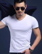 New Fashion Sexy Ultra -Thin Sheer Man Fitness Polyester Undershirts Gay O V -Neck Transparente Shirts Big Plus Size S -5xl