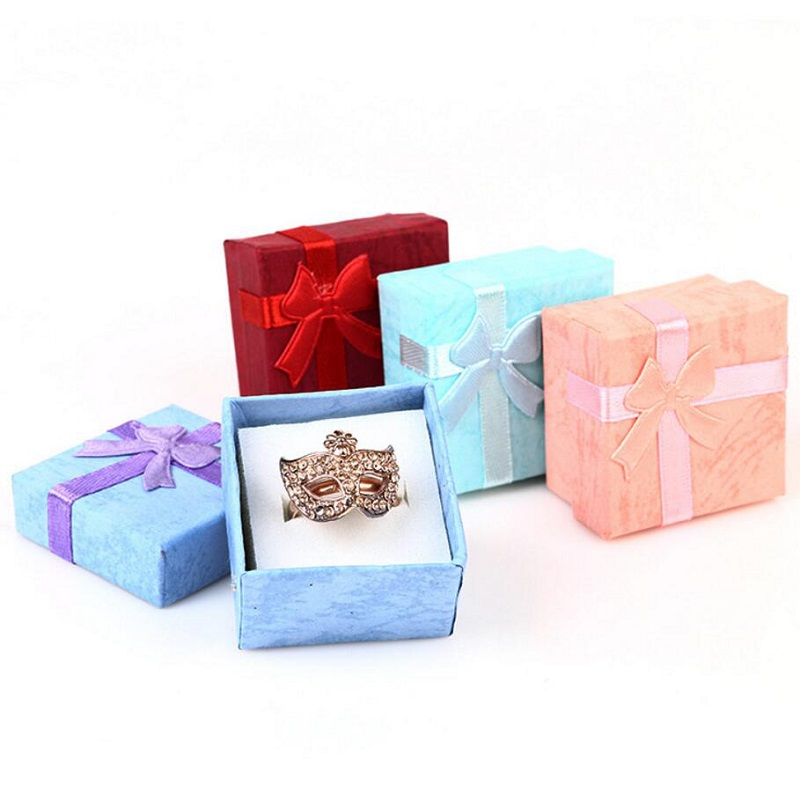 Jewery Organizer Box Rings/Earrings Storage Small Gift Box DIY craft Fashion Colorful 4*4cm bowknot colorful