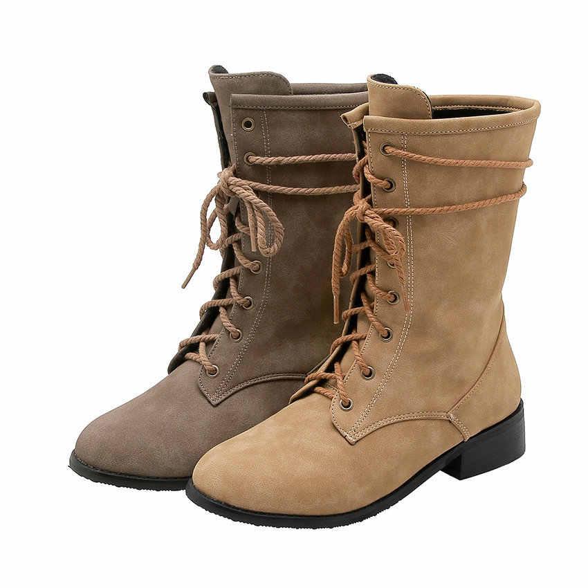 QUTAA 2020 Lace Up Yumuşak PU Deri Eğlence Kadın Ayakkabı Yuvarlak Ayak Düşük Topuk Sonbahar Kış Retro Moda Orta Buzağı çizmeler Boyutu 34-43