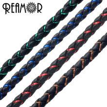 c257448fb0d1 REAMOR 1 metro 4mm rojo verde azul seda trenzada cuerda de cuero genuino  para DIY pulsera collar joyería artesanal hacer hallazg.