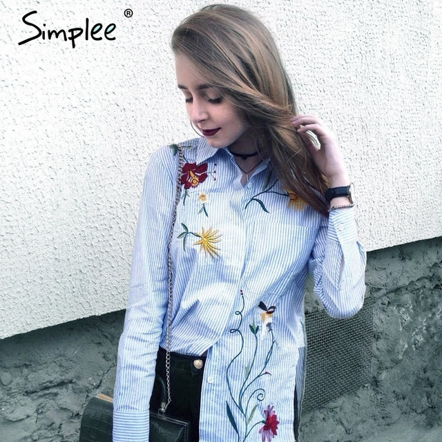 Simplee Embroidery long sleeve blouse shirt women tops 2017 Elegant  blue striped flower feminine blouse chemise femme blusas