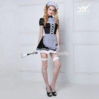 6008 Dependencia de Las Mujeres Cosplay Del Partido Negro Lolita Disfraces de Halloween Para Adultos Mujeres Sissy Maid Uniforme Sexy Trajes Franceses de la Criada