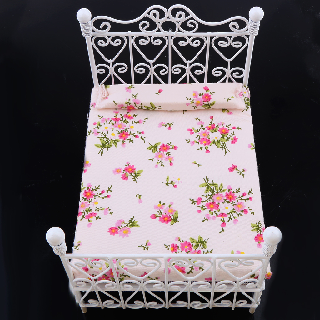HOT SALE 1: 12 Dollhouse Miniature Bedroom Furniture Metal Bed With Mattress Accessory Toy White