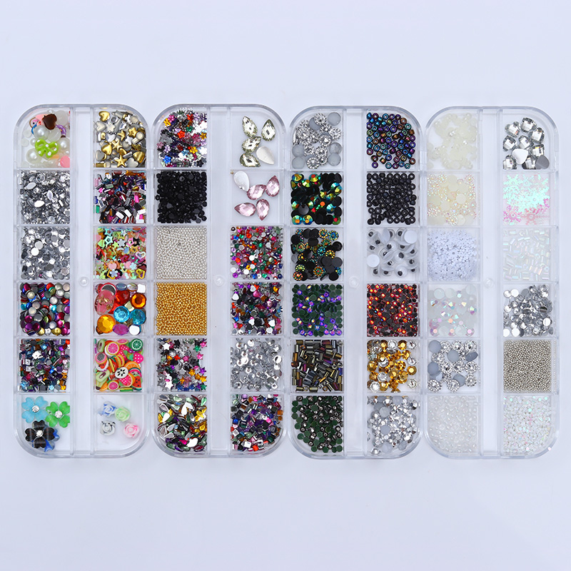 Mixed Colorful Rhinestone Gold Beads Fimo Sequins Pearl 3D Nail Decoration Floral Manicure Nail Art Accessories micro nail art gardient beads ab colorful shiny pixie caviar pearl beads rhinestones nail decoration uv gel manicure accessories