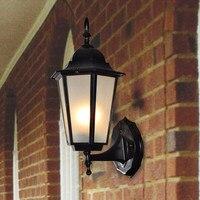 유럽 led 벽 램프 야외 방수 정원 빛 농촌 계약 벽 조명 골동품 철 유리 장식 빈티지 조명