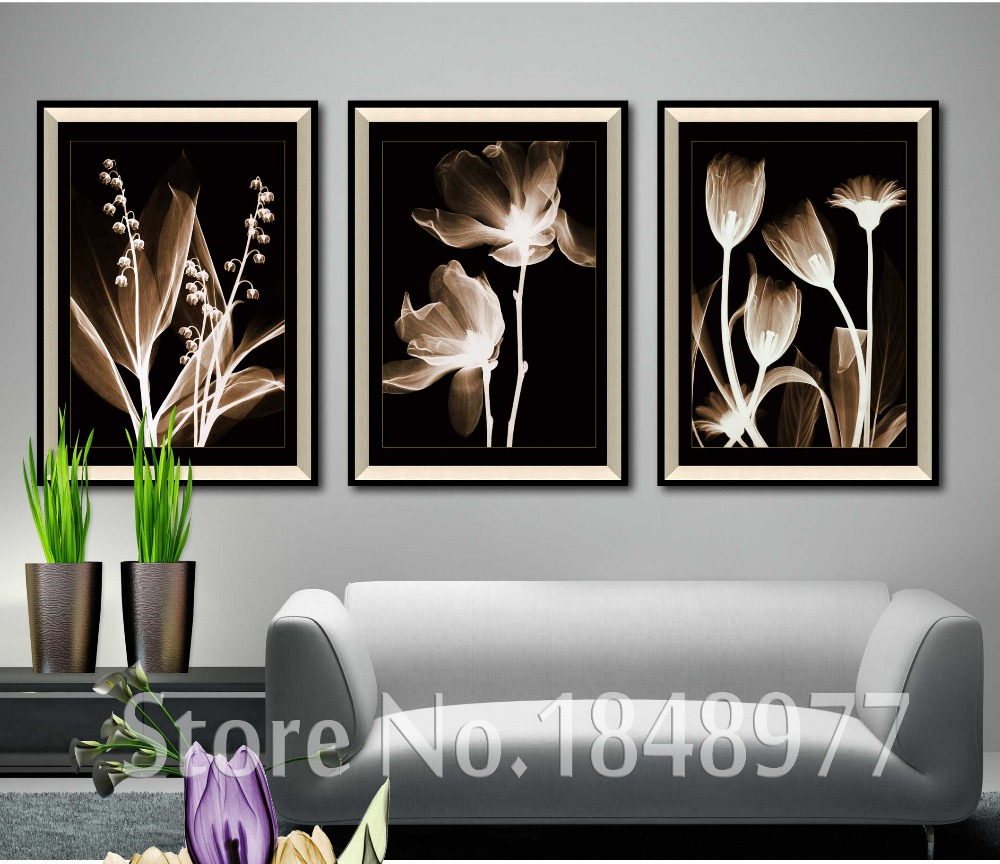 3 Piece Black And White Canvas Printings Transparent Flowers Wall
