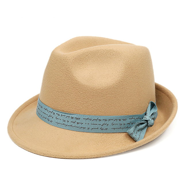 New fashion ladies autumn and winter tide hat Outdoor woolen basin cap British style bow women cap