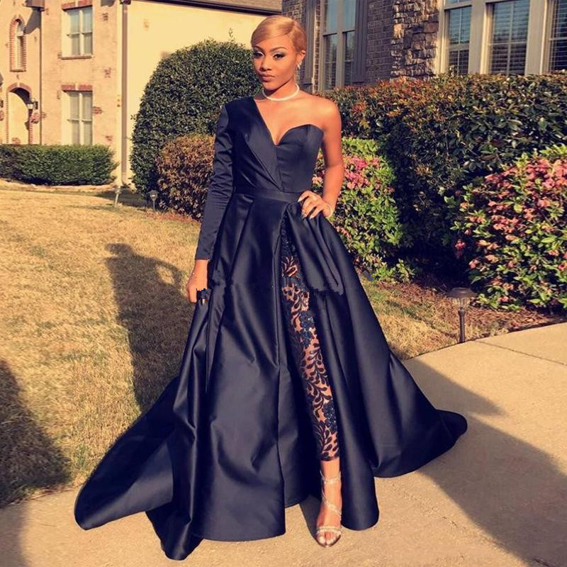 In Quality 2019 African Elegant White Women Jumpsuit Evening Dresses One Shoulder With Big Bow Formal Party Prom Gowns Superior