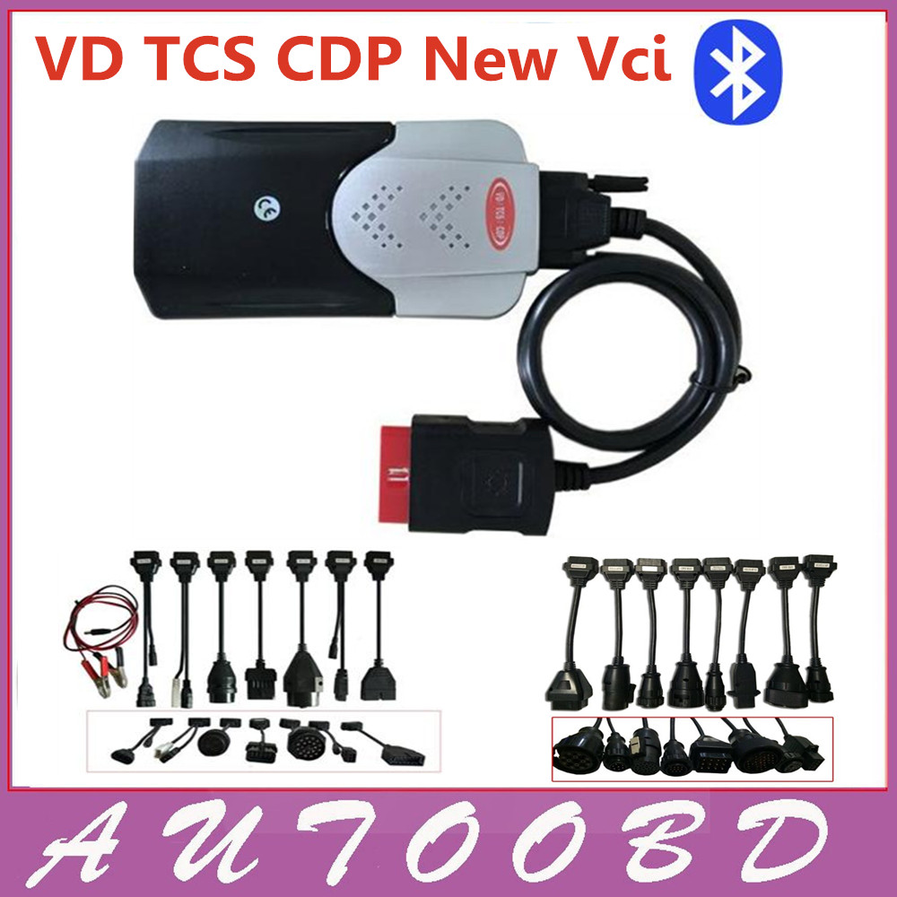 2014.R2 New Vci with Bluetooth Firmware 1423 VD TCS CDP Pro with full 8 car cables+ 8 truck cables For Auto OBD2 DHL Freeship 5 psc lot diagnostic tool connect cable adapter for tcs cdp plus pro obd2 obdii truck full 8 trucks cables for cdp by dhl free