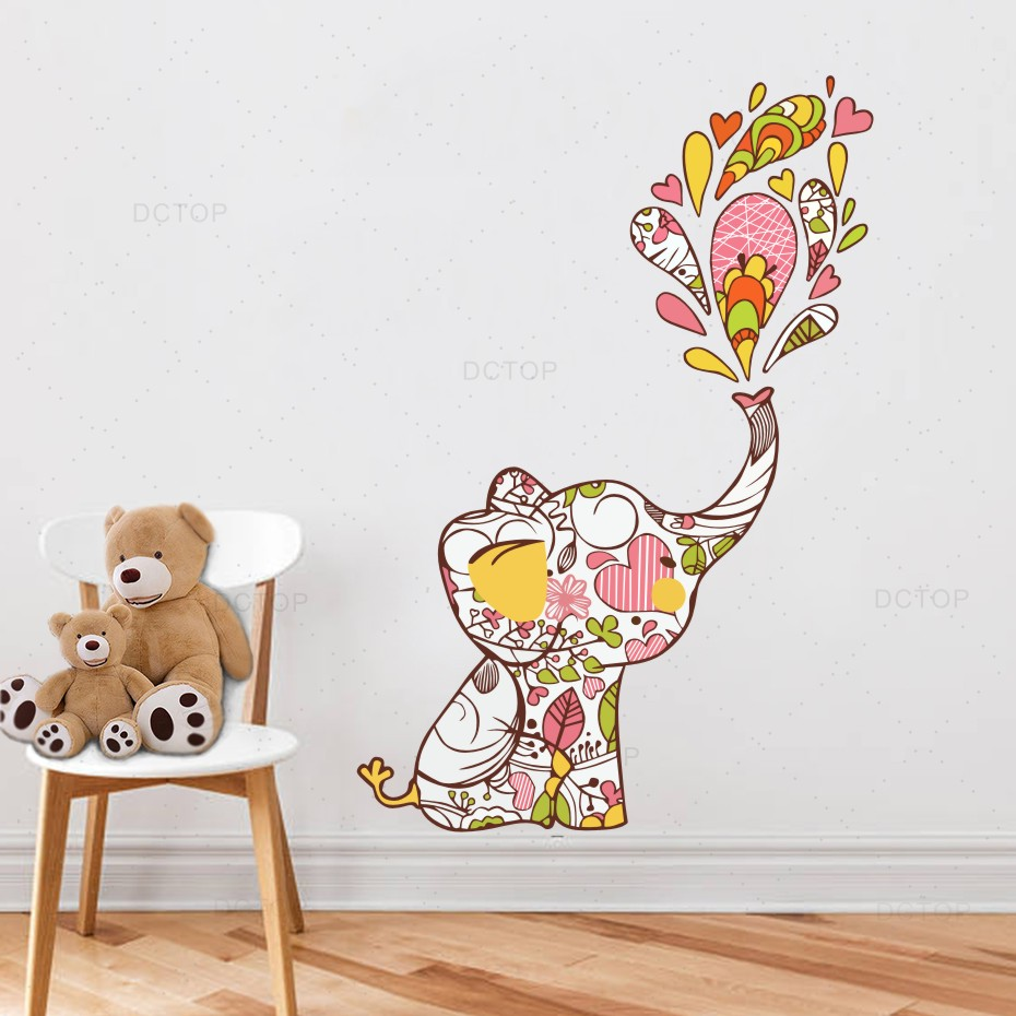 Diy Colorful Rooms: Cartoon Blossom Elephant Colorful Diy Wall Sticker For