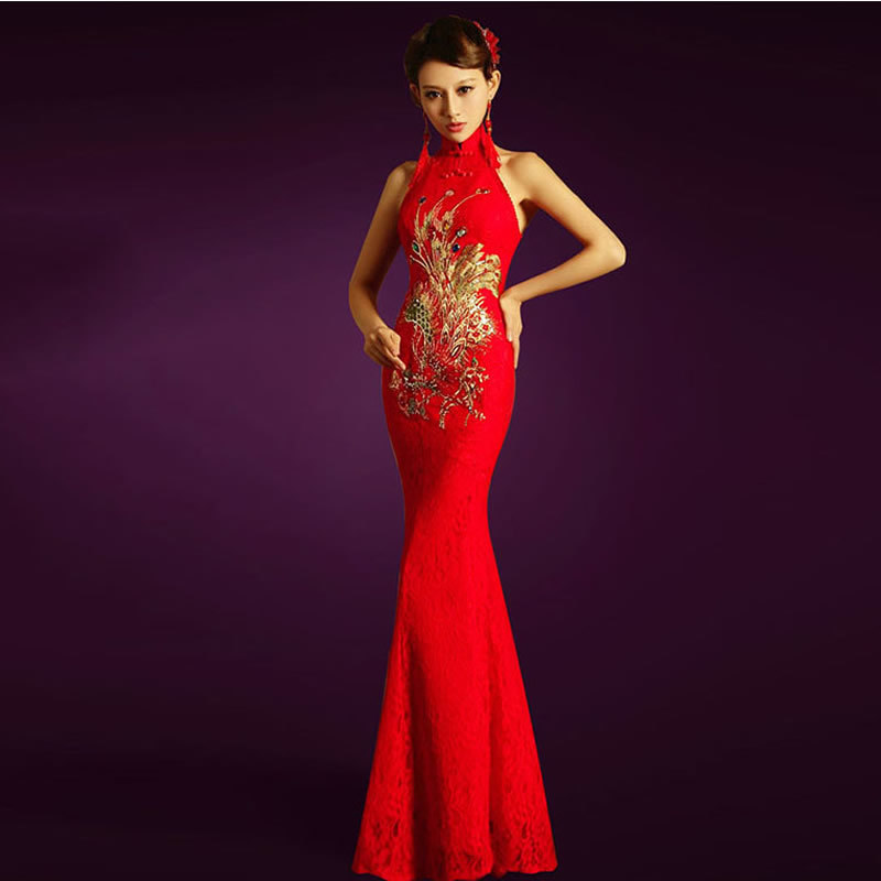 Red Lace Phoenix Embroidery Cheongsam Bride Backless Qipao Wedding Dress Sexy Chinese Dresses Women Traditional Free