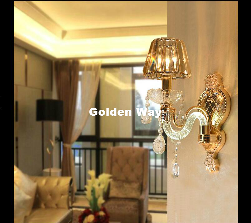 Modern Crystal Wall Lamps European Wall Light with Crystal Shades Wall Sconces for Home Living Bedroom Dining Room Lighting modern crystal chandelier led hanging lighting european style glass chandeliers light for living dining room restaurant decor