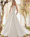 Joky Quaon Nuevo Llega Perlas Brillantes Joyas de Cuello Alto Blusa Gorgeous Una Línea de Raso Vestidos de Novia Más El Tamaño 2017 Hochzeitskleid