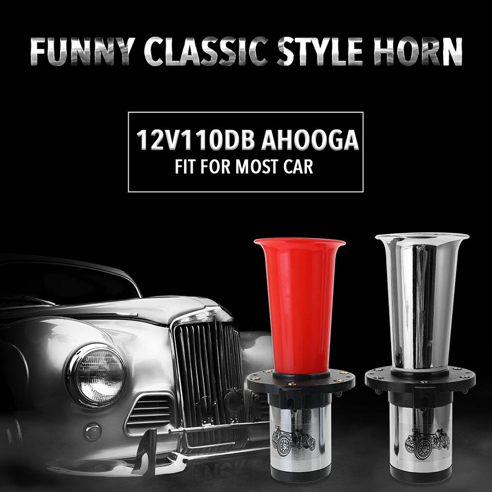PTNHZ Car Air Horn Antique Ahooga Klaxon 12V Vintage OO-GA Classical for Ford Model T Style Old School Chrome 110DB Motorbike Black