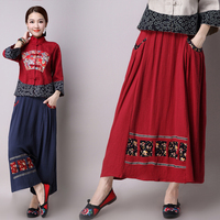 New Winter Woman S Cotton And Linen Embroider Skirt National Wind High Quality Large Size Elastic