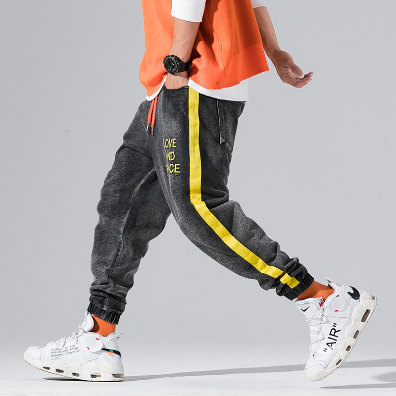 2019 Spring Streetwear Joggers Men Yellow Stripe Spliced Jeans Trousers Letter Design Jogger Mens Pants
