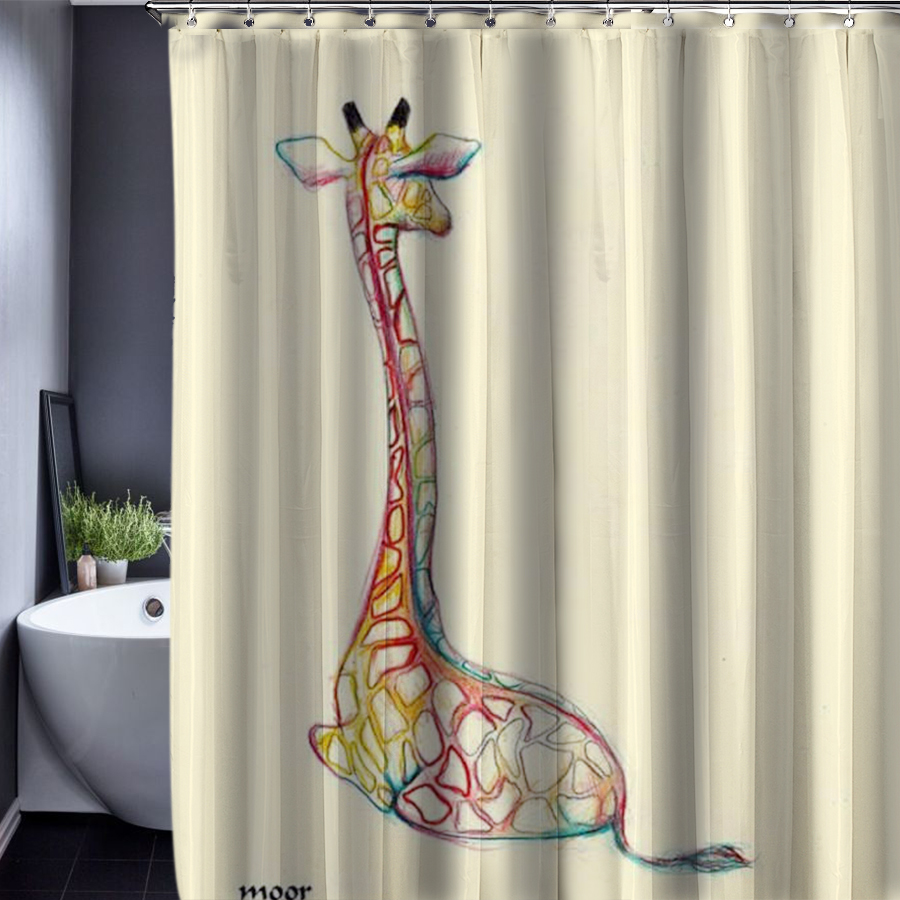 Giraffe/Horse Pattern Customized Shower Curtain Bathroom Accessories ...