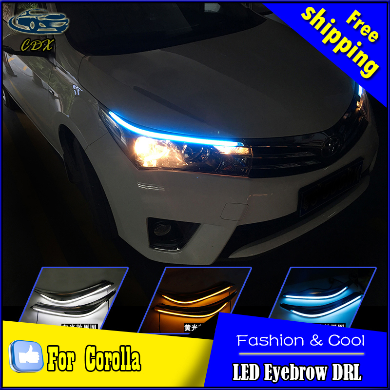 Car Styling LED DRL for Toyota Corolla 2014-2015 New Altis Eye Brow Light LED External Lamp Signal Parking Accessories union car styling for 2014 corolla taillights new corolla altis led tail lamp altis rear lamp drl brake park signal led light