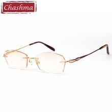 Prescription Glasses Titanium Light Rimless Eyeglasses Female Diamond Trimmed Rhinestone Tint Lenses Luxurious Frames