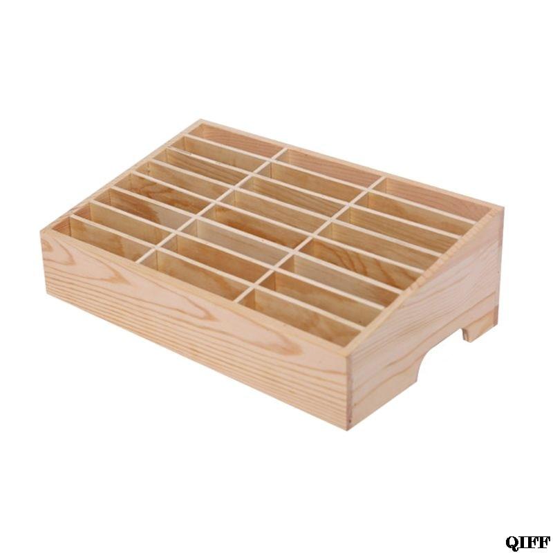 24 Cells Multifunctional Wooden Storage Box Mobile Phone Repair Tool OrganizerJun18