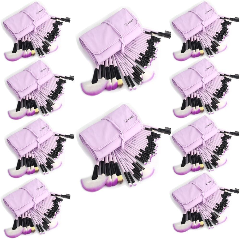 10 sets/ lot Purple Vander Makeup Brushes Set Foundation Face&Eye Powder Pinceaux Maquillage Cosmetics Makeup Brush + Pouch Bag vander 10sets lot 32pcs wholesale makeup