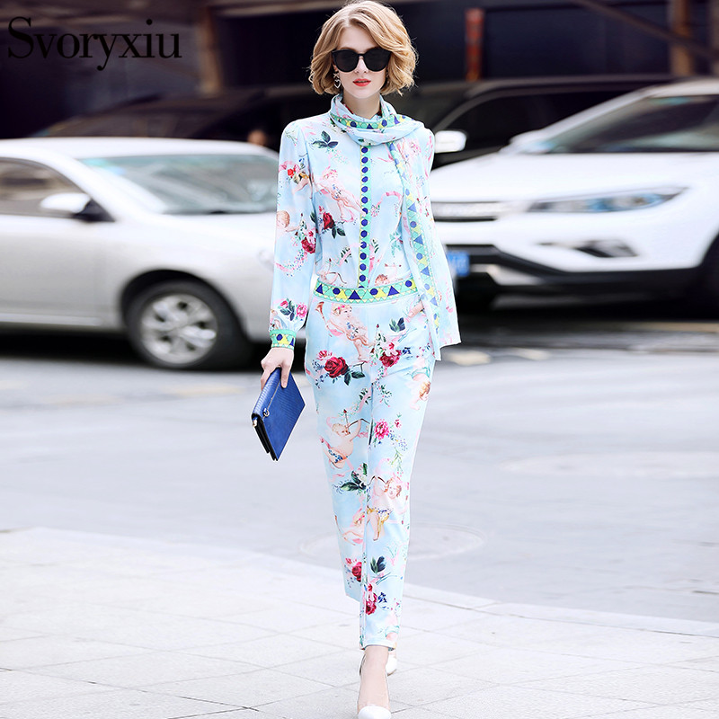 Svoryxiu 2019 Summer Ladies Suits Runway Designer Women s High Quality Sweet Cupid Rose Print Pants