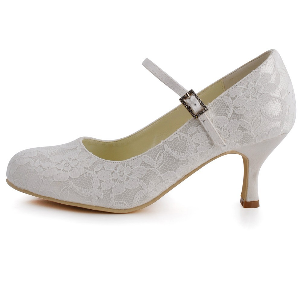 874846178601 Aliexpress.com   Buy Clearance Sale EP1085 EU White Women Mary jane Bridal  Party Round Toe Med Heels Prom Pumps Satin Lace Buckle Wedding Shoes US10  from ...
