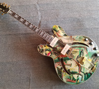Hand painted custom JAZZ335 electric guitar Gold accessories can be customized according to requirements