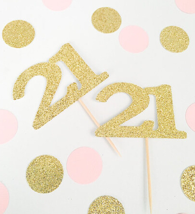 Glitter Cupcake Toppers 21st Birthday Decorations Custom Number Wedding Toothpicks Bridal Baby Shower Party Decor
