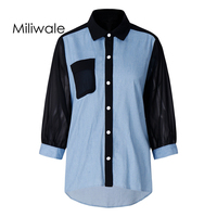 New Arrival Spring Fashion Big Size Loose Chiffon Blouse Patch Work Denim Long Sleeve Polo Collar