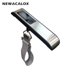 NEWACALOX 110Lb*0.02Lb LCD Digital Stainless Steel Handy Scalel Electronic Weight Luggage Scale 50KG Fish Hanging scale