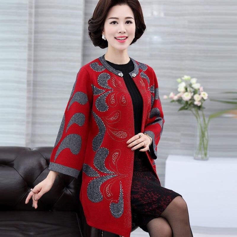604 Manga Punto 2019 Media 606 Impreso Suéteres Cardigan Lana Larga De Abrigos Mujer Suéter E105 607 Cuello Edad Mujeres Nuevo zwd7qTx7
