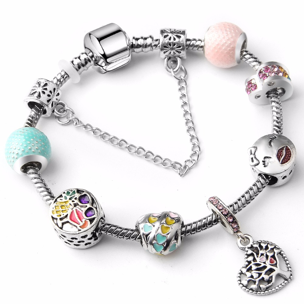 Classic Rainbow Pendant Charm Bracelet With Murano Glass Beads Pendant Bracelets for Women Original DIY Jewelry