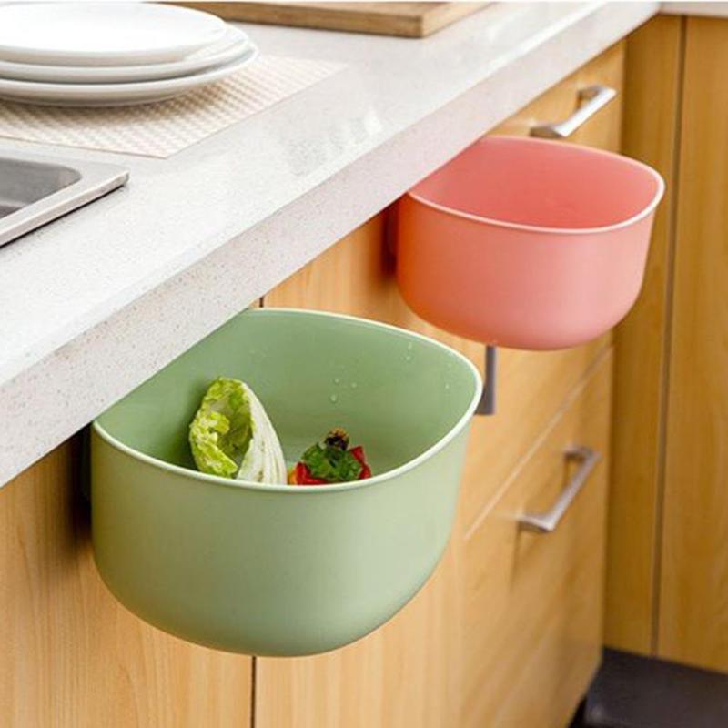 Creative Plastic Storage Box Kitchen Waste Cupboard Doors Hanging Organizers Garbage Holder Desktop Trash Can Sponge Holder Rack