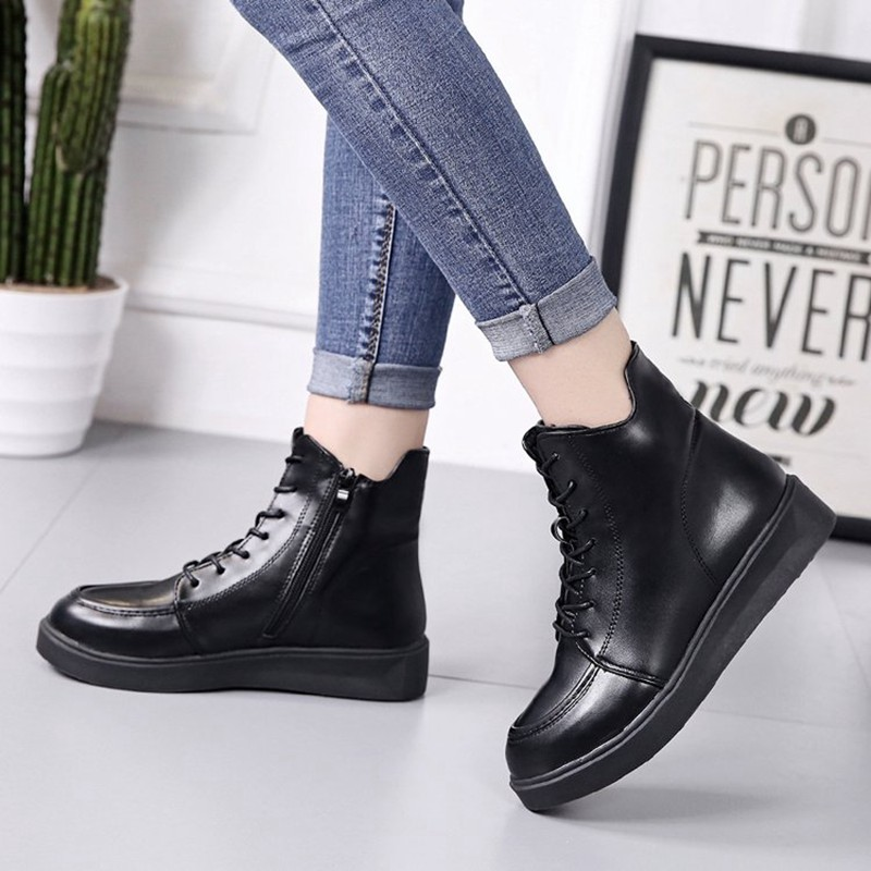 COOTELILI Plus Size Women Rubber Boots Women High Quality Black Flat Boots Fashion Winter Ankle Boots For Women 35-40 (8)
