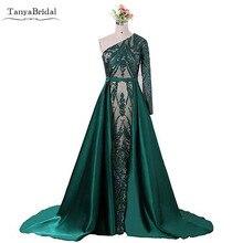 2edb52a744cb81 Elegante Moslim Green Lange Mouwen Prom Dresses Met Afneembare Trein Sequin  Bling Marokkaanse Kaftan Formele Party Gown Vestido .