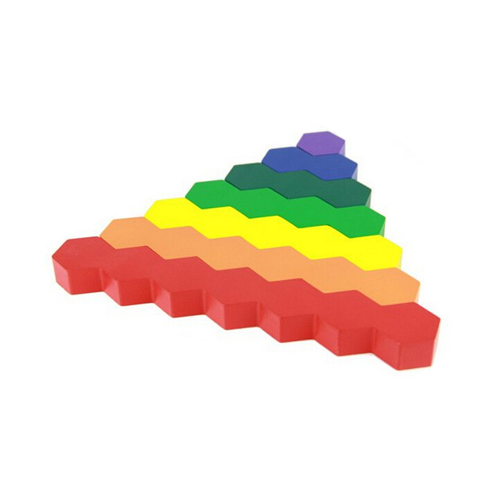 ! Kids Wooden Colorful Honeycomb Building Blocks Montessori Educational Toys for Baby Children