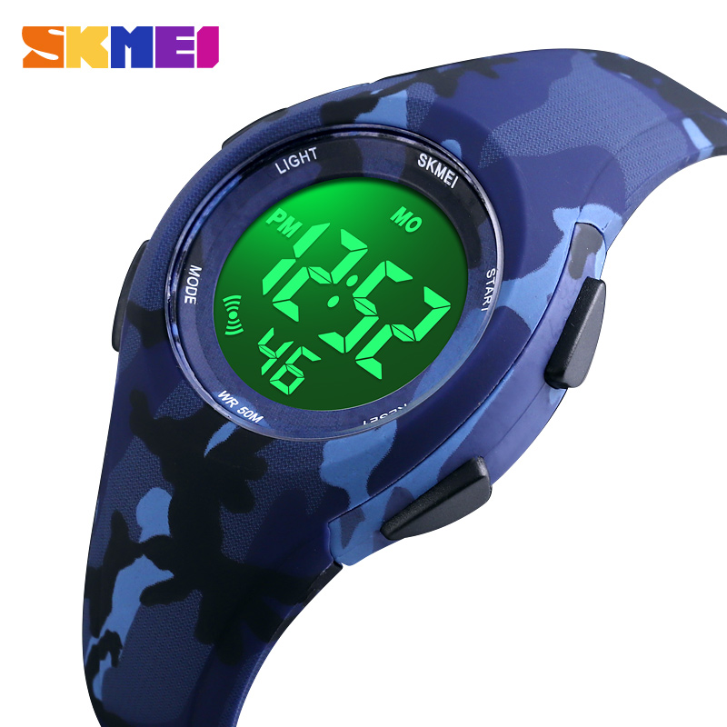 SKMEI Children LCD Electronic Digital Watch Sport Watches Stop Watch Luminous 5Bar Waterproof Kids Wristwatches For Boys Girls