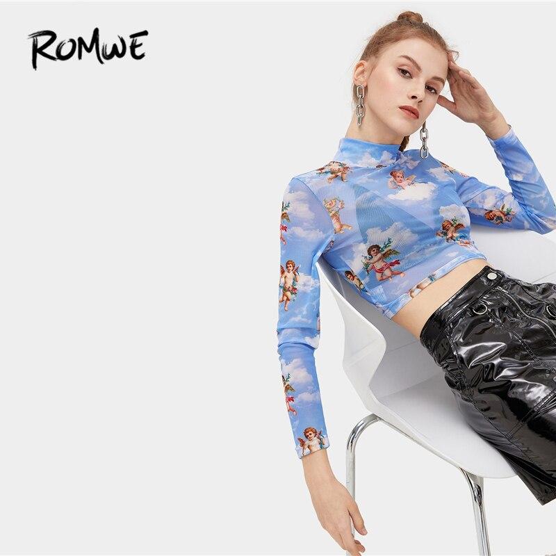ROMWE Angel Print Crop Tee Stand Collar Long Sleeve Casual T Shirt 2019 Blue Women Fashion Design Spring Autumn T-Shirt see through angel shirt