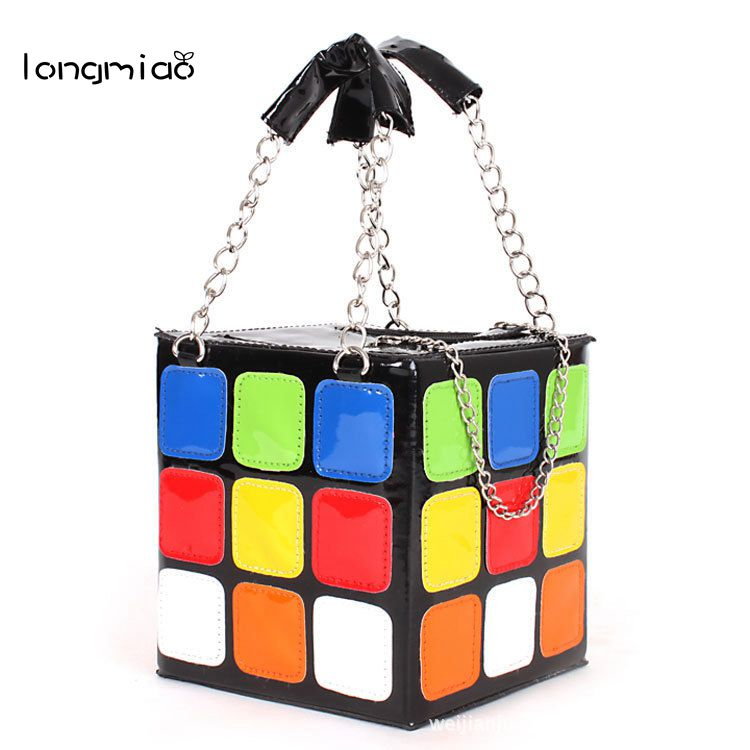 longmiao Women Bag Rubik Cube Cute Magic Cube Bag Purse Fashion Chain Handbags Women Messenger Bag Tote Bags Bolsos de Mano 5x5x5 spring magic rubik s cube puzzle toy