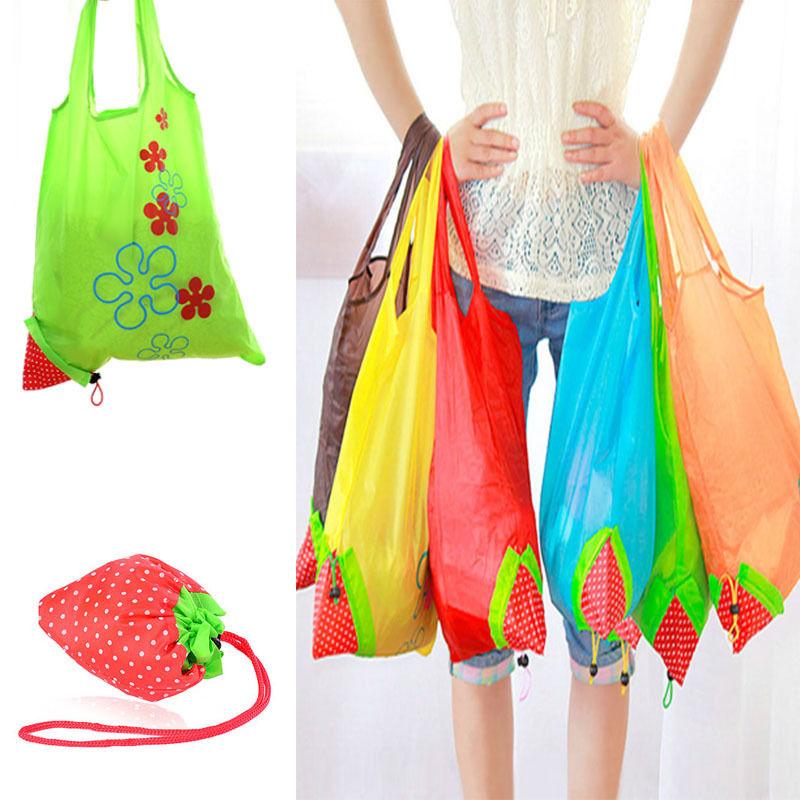 New Nylon Foldable Reusable Shopping Bags Strawberry Tote Eco Storage Handbag CN new style cartoon fruit lemon eco bag useful nylon foldable reusable shopping bags