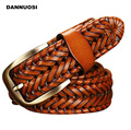 [DANNUOSI]2016 New Belt Man Fashion Mens belts luxury genuine leather braided Real Cow skin straps men Jeans Wide girdle Male
