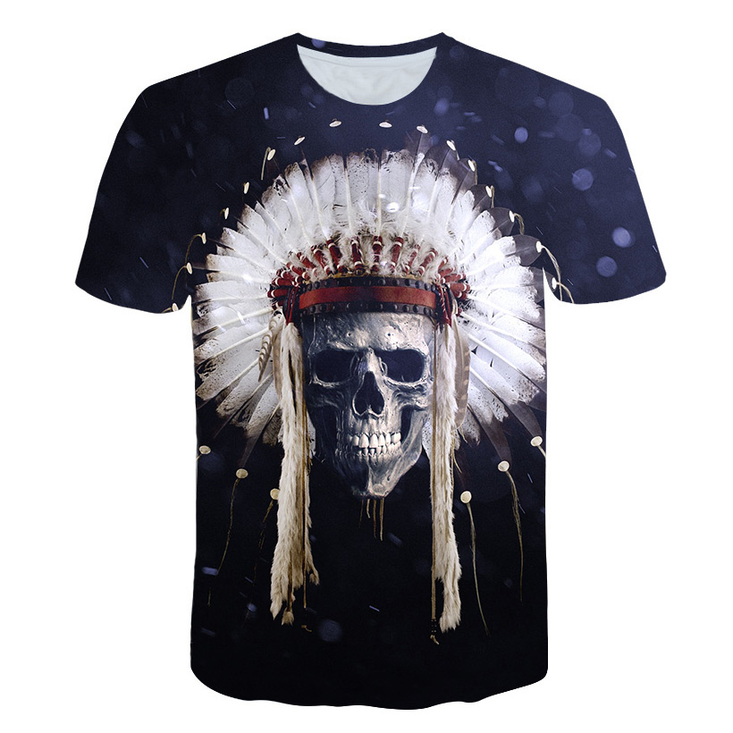 Skull Native Aion American Chief Indian Extra Large 5XL New Fashion T-shirt Wing top tee National flag Retro Print Short Sleeve