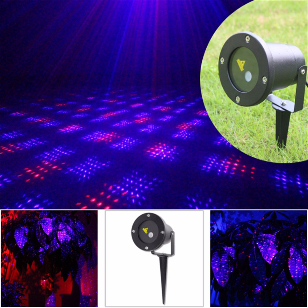 AUCD Waterproof Red Blue Dots Laser Outdoor / Indoor Projector Lights Landscape Garden Home Party Xmas Lighting GO-100RB rg mini 3 lens 24 patterns led laser projector stage lighting effect 3w blue for dj disco party club laser