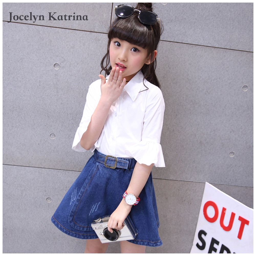Brand 3T-14T Girls Clothes Girls Clothing Sets Children Princess Costume for Girls Kids Clothes White Shirt+Skirt