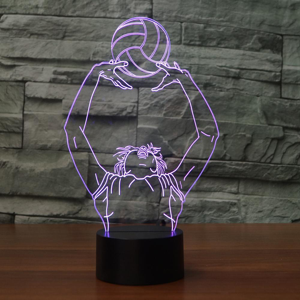 Volleyball Toss Moulding 3D LED Night Light 7 Colors Changing Table Lamp Home Bedroom Decor Kids Birthday Gifts Sleep Lighting