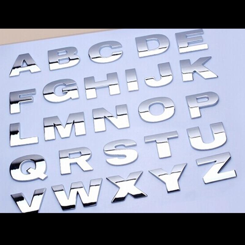 1pcs Car Sticker Silver Black Creative 3D Letters A-Z/0-9 Emblem Digital Figure Number Chrome DIY Car Styling Metal Sticker
